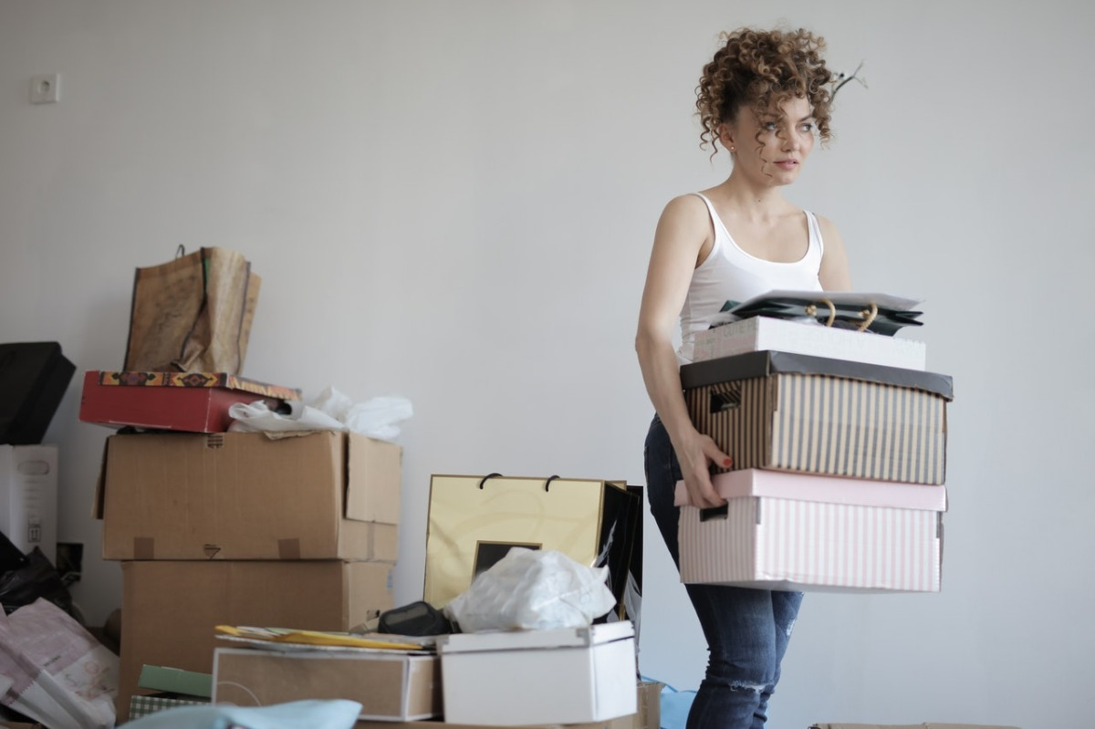woman decluttering